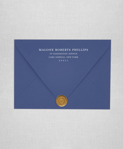 Sapphire Blue wedding envelopes with white ink return addressing and gold wax seals