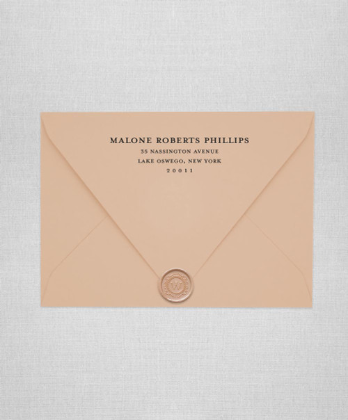 Stone Beige  wedding envelopes with white ink return addressing and gold wax seals