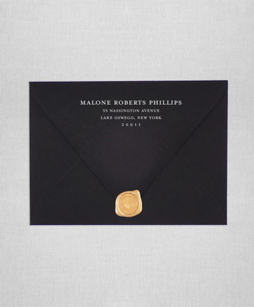 Ultra Black wedding envelopes with white ink return addressing and gold wax seals