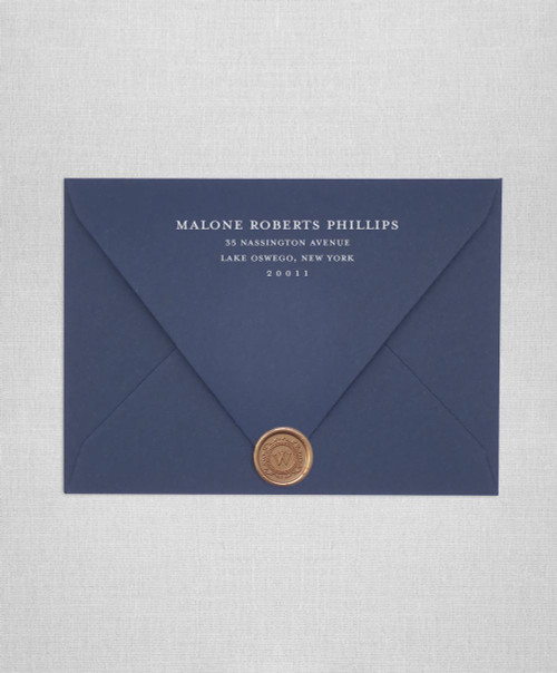 Navy Blue wedding envelopes with white ink return addressing and gold wax seals