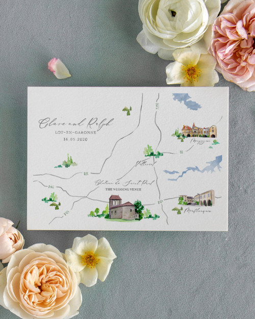 custom simple hand painted watercolor map of Italy for wedding invitaiton
