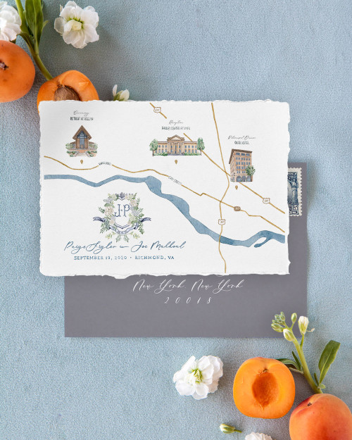 Custom Watercolor Map + Crest Save The Date