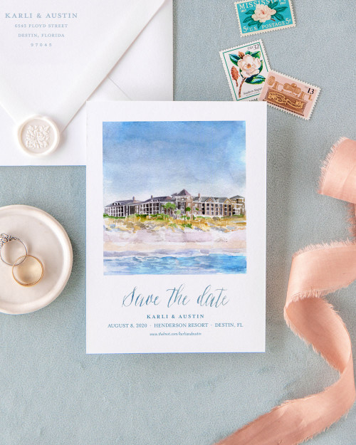 Custom watercolor landscape of beach printed on deckled paper
