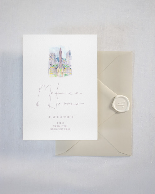Custom Venue Watercolor Save the Date New York City Rockefeller Center Watercolor