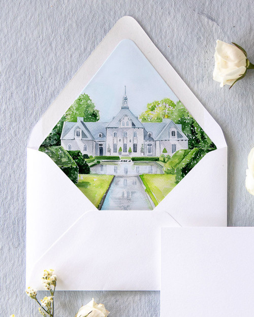 Lined Envelopes | Custom Venue Watercolor Liner