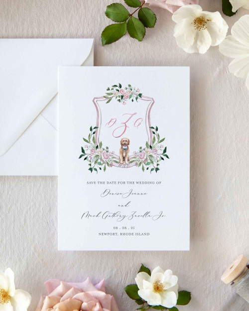 Pet and Floral Custom Watercolor Crest Save The Date