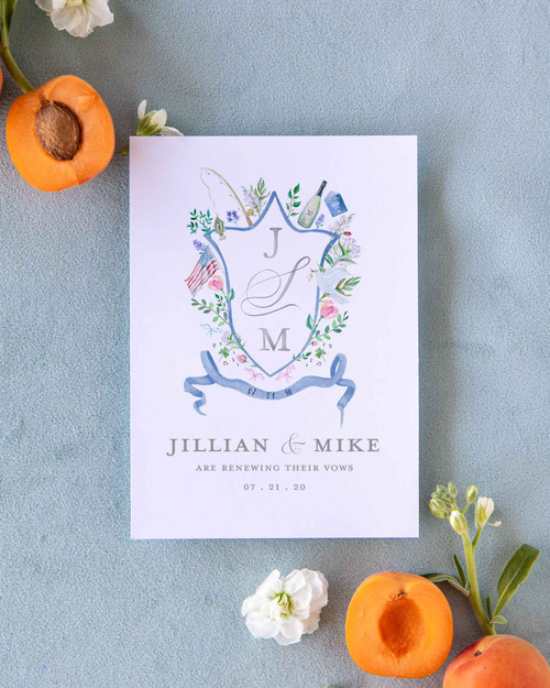Multi Icon Floral Watercolor Crest Save the Date