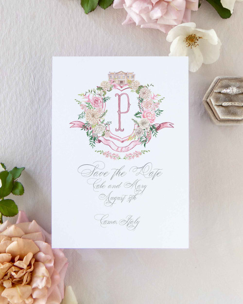 Save The Date Watercolor Floral Crest with Venue, Italy