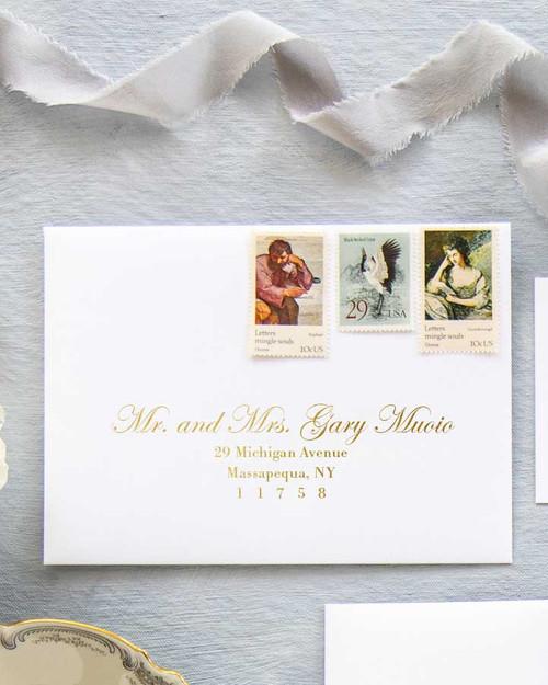 Edwardian Script Envelope Addressing   Gold Ink