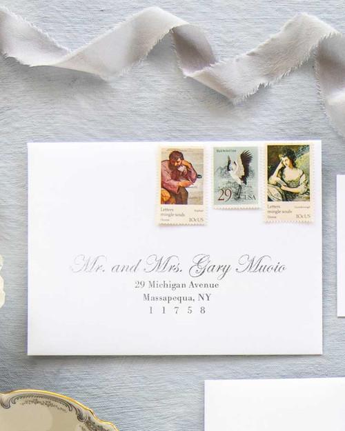 Edwardian Script Envelope Addressing   Silver Ink