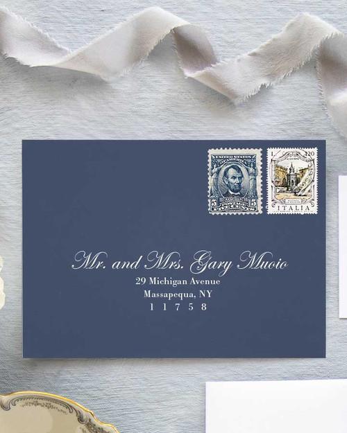 Edwardian Script Envelope Addressing | White Ink