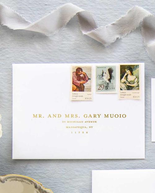 Mrs Eaves Envelope Addressing | Gold Ink