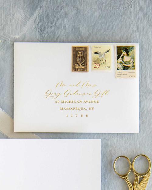 Custom Envelope Addressing | Gold Ink