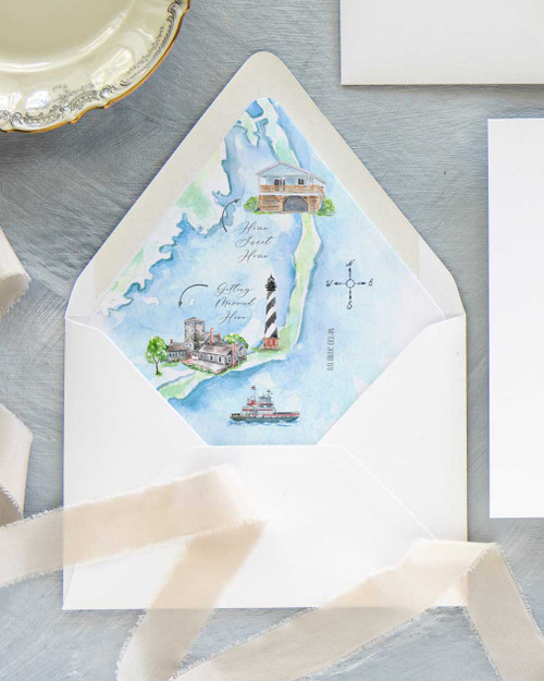 Lined Envelopes | Custom Map Watercolor Liner
