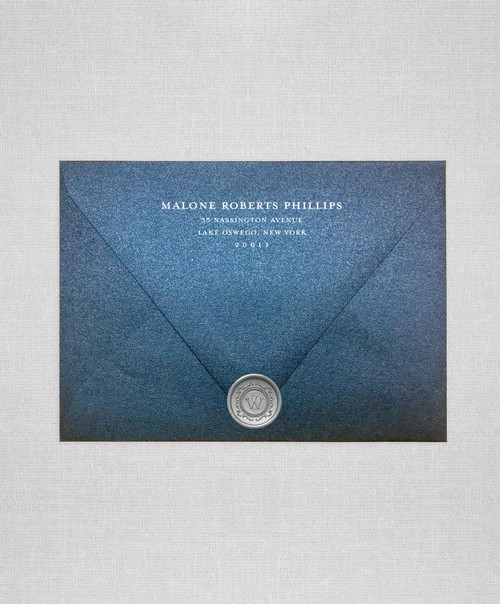 metallic Navy Blue wedding envelopes with white ink return addressing and silver wax seals
