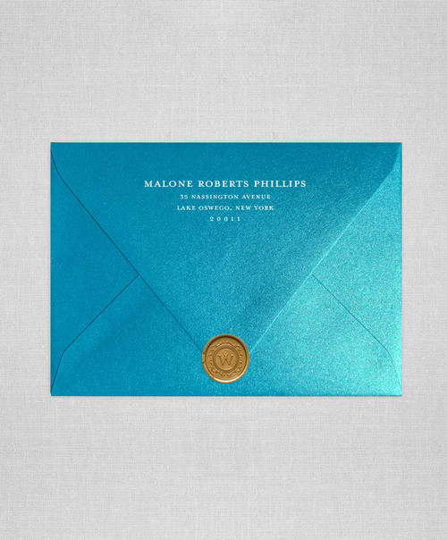 Metallic Peacock Teal wedding envelopes with white ink return addressing and gold wax seals