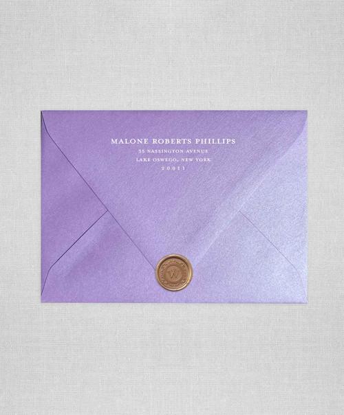 Light Amethyst Purple Metallic wedding envelopes with white ink return addressing and bronze wax seals