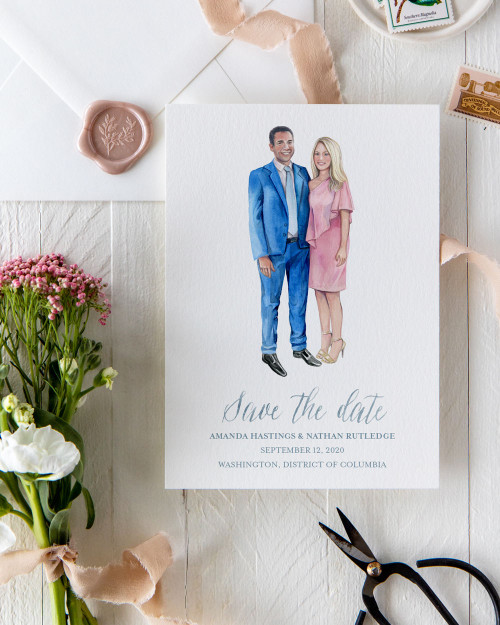 Custom Watercolor Couple Portrait Save The Date