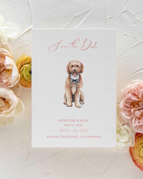 Custom Pet Watercolor Save the Date, Custom Dog Watercolor