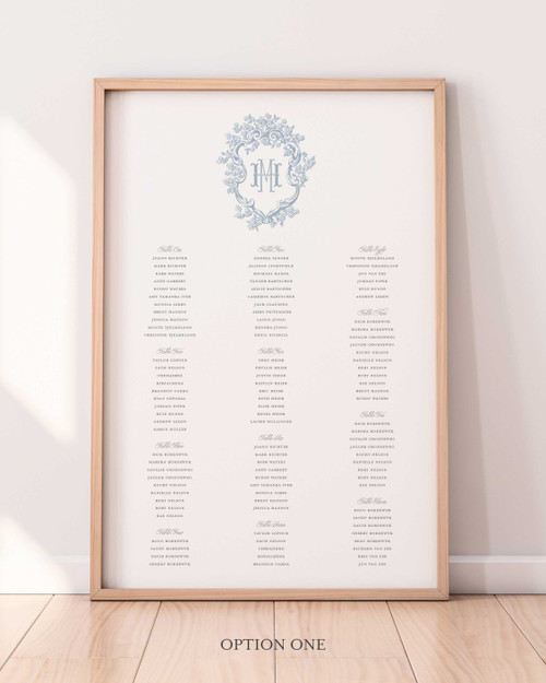 Seating Chart Sign   Barry Collection