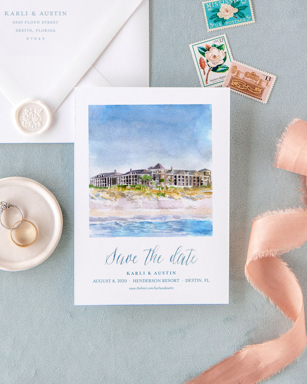 Hand Painted Custom Venue Watercolor Save the Dates