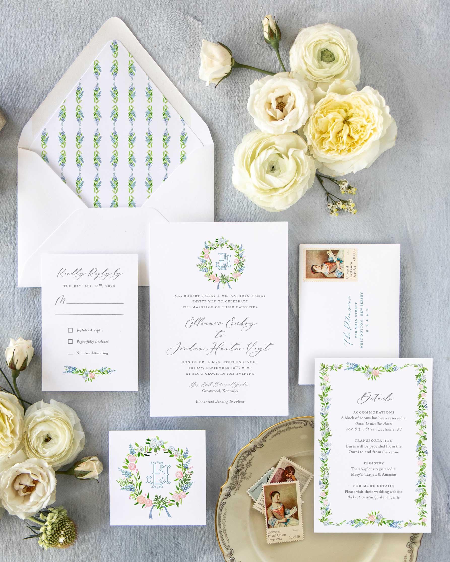 Preppy Watercolor Wedding Suite