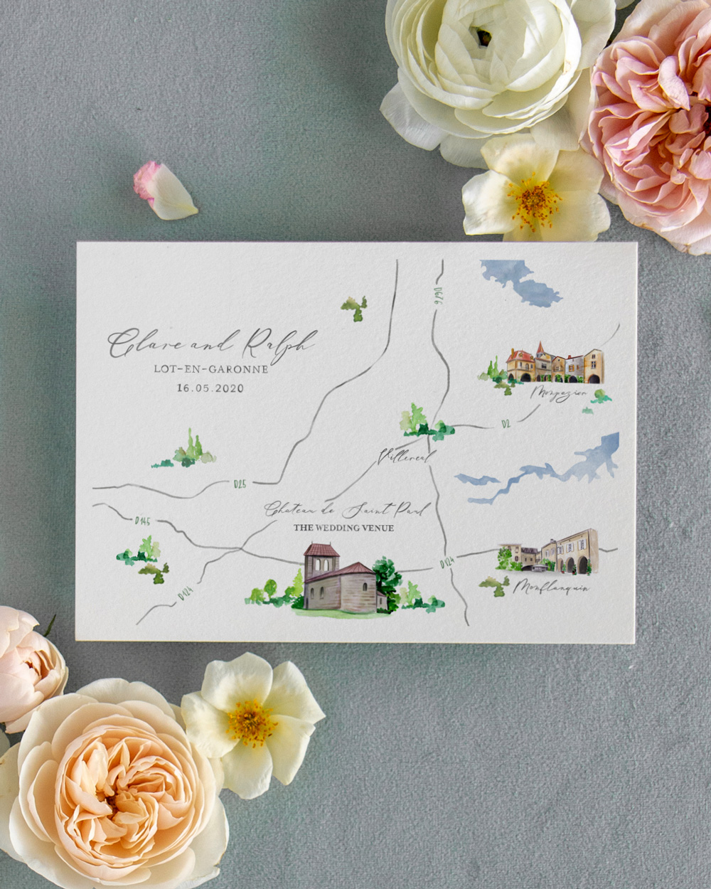 Custom watercolor map Save the Date