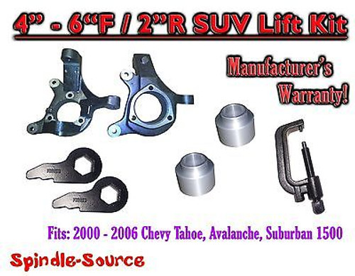 """00 - 06 Chevy Suburban Tahoe Avalanche 1500 4-6"""" Lift Kit Spindle Torsion + TOOL"""