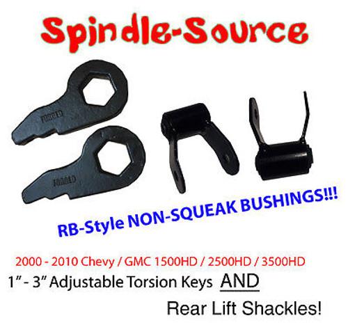 "00 - 10 Chevy 2500 3500 HD Suburban Avalanche 1"" 3"" Torsion Keys + REAR SHACKLES"