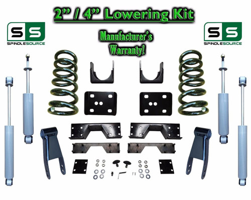 "02 - 08 Dodge Ram 1500 V6 2"" / 4"" Lowering Drop Kit 2WD Coils Flip SHOCKS, NOTCH"