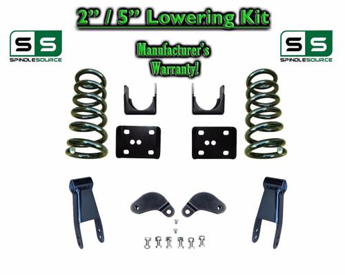 """02 - 08 Dodge Ram 1500 V6 2"""" / 5"""" Lowering Drop Kit 2WD Coils Flip Shackles, EXT"""