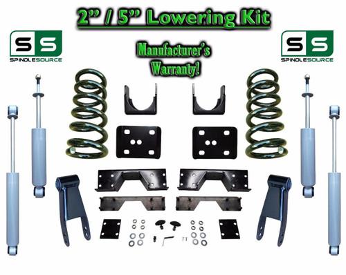 "02 - 08 Dodge Ram 1500 V6 2"" / 5"" Lowering Drop Kit 2WD Coils Flip SHOCKS, NOTCH"