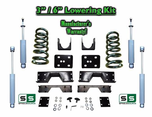 "02 - 08 Dodge Ram 1500 V6 3"" / 6"" Lowering Drop Kit 2WD Coils Flip SHOCKS, NOTCH"
