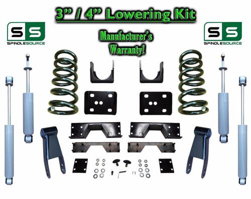 "02 - 08 Dodge Ram 1500 V8 3"" / 4"" Lowering Drop Kit 2WD Coils Flip SHOCKS, NOTCH"