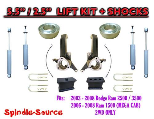 03 - 08 Dodge Ram 2500 3500 (1500 MEGA CAB) 2WD 5.5 / 2.5 LIFT KIT SHOCKS (UB-H)