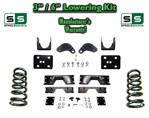 "02 - 08 Dodge Ram 1500 V8 3"" / 6"" Lowering Drop Kit 2WD Coils Flip, C-NOTCH, EXT"
