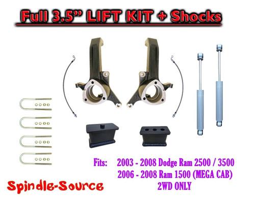 """03 - 08 Dodge Ram 2500 3500 (1500 MEGA) 2WD 3.5"""" / 3.5"""" LIFT KIT + SHOCKS UBH"""