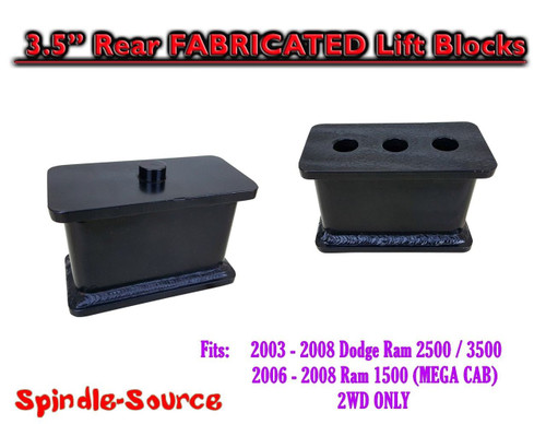 "03-08 Dodge Ram 2500 3500 (1500 Mega Cab) 3.5"" Fabricated STEEL Rear Lift Blocks"