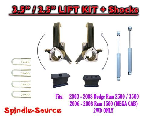 "03 - 08 Dodge Ram 2500 3500 (1500 MEGA) 2WD 3.5"" / 2.5"" LIFT KIT + SHOCKS UB-I"