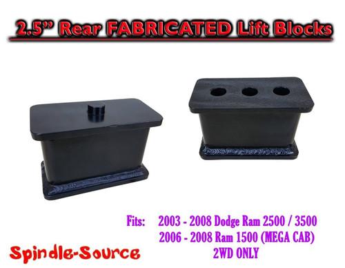 "03-08 Dodge Ram 2500 3500 (1500 Mega Cab) 2.5"" Fabricated STEEL Rear Lift Blocks"