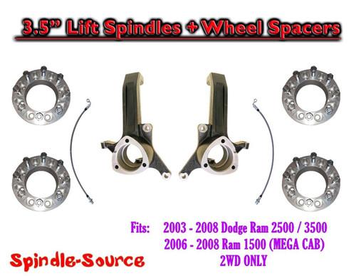 """03 - 08 Dodge Ram 2500 3500 (1500 MEGA) 3.5"""" LIFT Spindles + Wheel Spacers"""