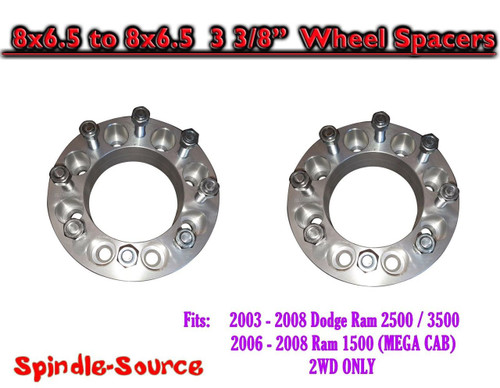 """03 - 2008 Dodge Ram 2500 3500 8 x 6.5 to 8x6.5 TWO Wheel Spacers 3-3/8"""" Inch"""