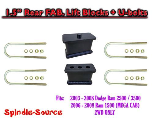 """03-08 Dodge Ram 2500 3500 1.5"""" Fabricated Rear Lift Blocks + U-bolts 4.125"""" Axle"""