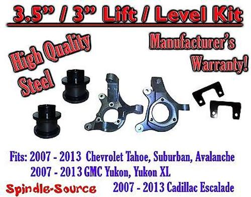 "07 - 13 Chevy Tahoe GMC Yukon 1500 + SUV 3.5"" / 3"" FULL LIFT KIT 2WD Spindles"