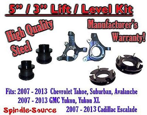 "07 - 13 Chevy Tahoe GMC Yukon 1500 + SUV 5"" / 3"" FULL LIFT KIT 2WD Spindles"