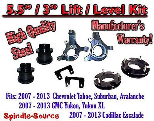 "07 - 13 Chevy Tahoe GMC Yukon 1500 + SUV 5.5"" / 3"" FULL LIFT KIT 2WD Spindles"