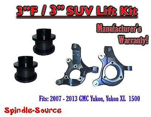 "07 - 13 Chevy Tahoe GMC Yukon 1500 + SUV 3"" / 3"" FULL LIFT KIT 2WD Spindles"