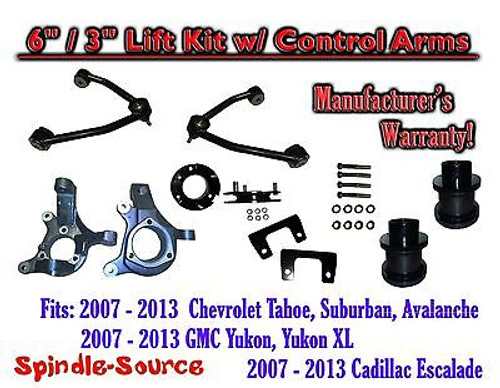 """07 - 13 Chevy SUV 6"""" / 3"""" FULL LIFT KIT 2WD Spindles +Tubular UPPER CONTROL ARMS"""