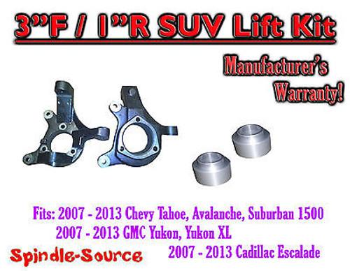 "07 - 13 Chevy Tahoe GMC Yukon 1500 + SUV 3"" / 1"" FULL LIFT KIT 2WD Spindles"