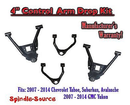 """07 - 2014 Chevy GMC 1500 4"""" in Drop Lowering CONTROL ARMS Tahoe Yukon Avalanche"""